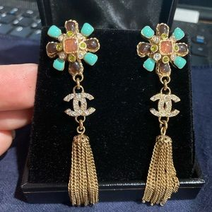 Chanel 05P crystal and enamel Fringed CC Earrings